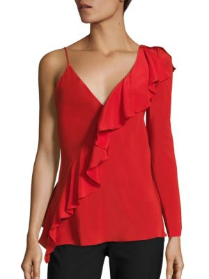 Asymmetrical Sleeve Ruffled Silk Blouse by Diane von Furstenberg