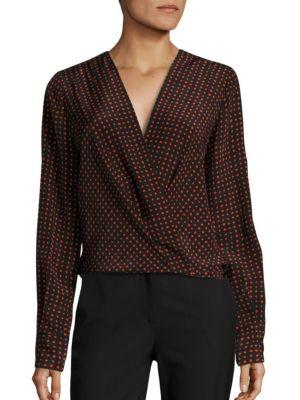 Dotted Drape Front Silk Blouse by Diane von Furstenberg