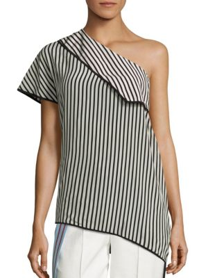 One Shoulder Side Slit Silk Blouse by Diane von Furstenberg