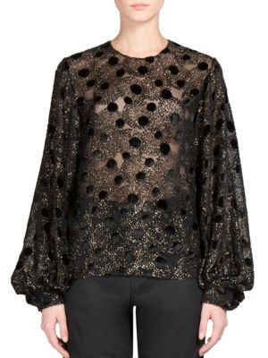 Velvet Fil Coupe Blouse by Saint Laurent