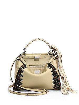 9bebe516056a Fendi - Peekaboo Mini Ribbon-Whipstitch Leather Satchel - saks.com