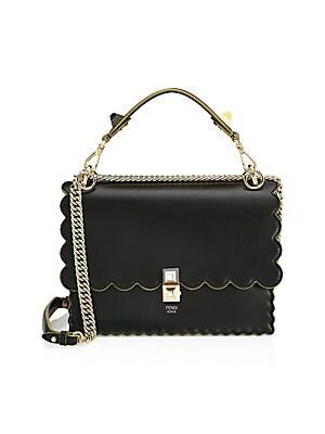 a5fbdffdd4b3 Fendi - Kan I F Leather Shoulder Bag With Raffia Embroidery and ...