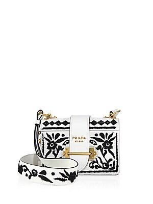 1cdcf8934723 Prada - Madras Embroidered Cahier Shoulder Bag - saks.com