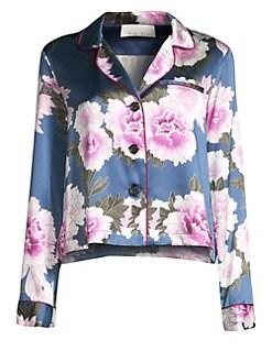 3696b333df Fleur du Mal. Floral-Print Silk Satin Pajama Top