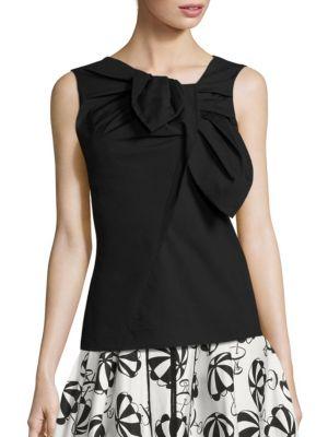 Asymmetrical Bow Cotton Blouse by Carolina Herrera