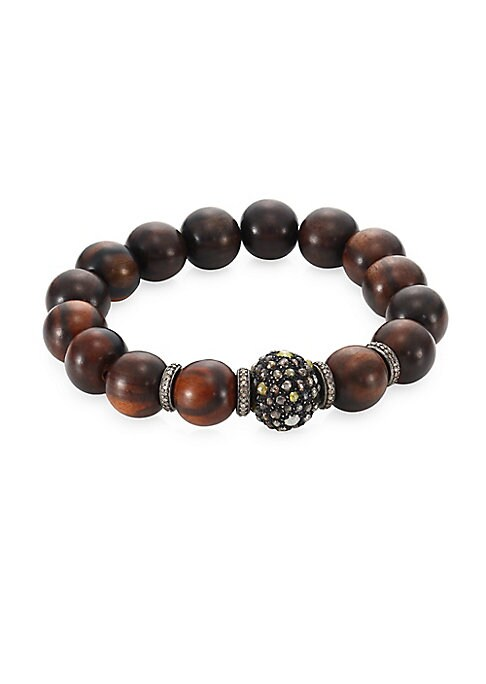 """Image of Agate diamond beaded bracelet with feature pave diamond link. Diamonds, 2.87 tcw. Rhodium-plated sterling silver. Wood. Diameter, about 2.25"""".Slip-on stretch style. Imported."""