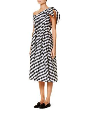 One-Shoulder Gingham Dress