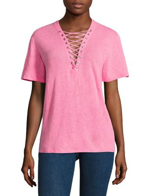 Imis Lace-Up Linen Tee by IRO