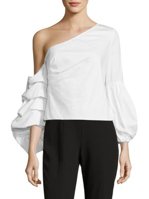 Convertible One-Shoulder Poplin Top by Scripted