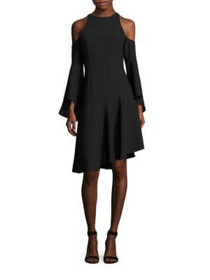 Image of Cold-Shoulder Bell Sleeve Dress