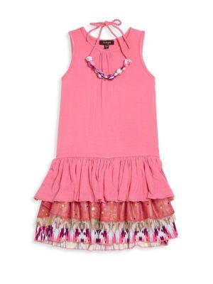 Toddlers Little Girls  Girls Shanon TwoPiece Ruffle Dress  Necklace Set