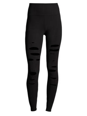 ALO YOGA Ripped Warrior Performance Leggings in Black