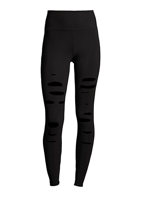 "Image of High-waist leggings styled with ripped details. Banded waist. Pull-on style. Rise, about 11"".Inseam, about 29"".Polyester/spandex. Hand wash. Made in Portugal. Model shown is 5'10"" (177cm) wearing US size Small."