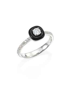 Nikos Koulis Oui Diamond Enamel 18k White Gold Ring