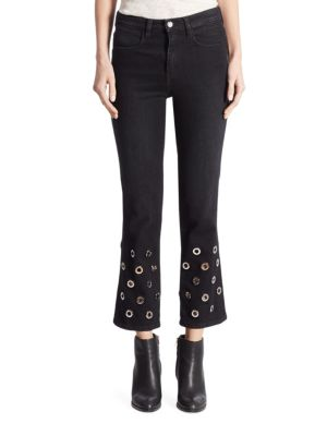 Juliette High-Rise Grommet Cropped Flared Jeans by Brockenbow
