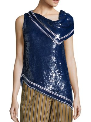 One Shoulder Sequin Blouse by Monse