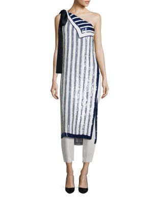 Striped Sequin One Shoulder Tunic by Monse