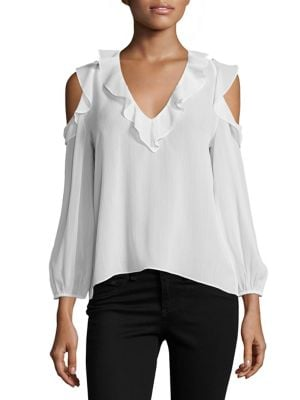 Gia Ruffle Cold-Shoulder Blouse by Alice + Olivia