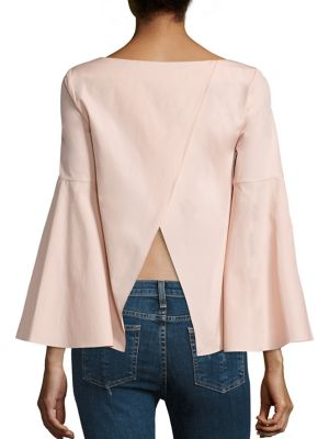 Shirley Crossback Cotton Bell Sleeves Crop Tunic by Alice + Olivia