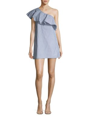 Cammie Ruffled Striped One Shoulder Dress by Alice + Olivia