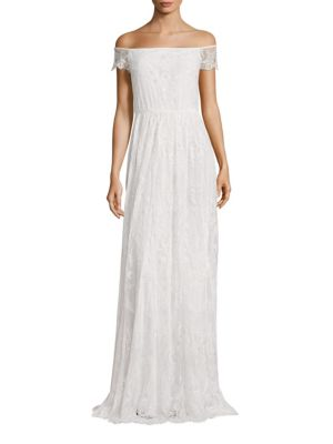 """Image of Elegant gown with a lot of embellished details. Off-the-shoulder neckline. Scalloped short sleeves. Scalloped hem. Exposed back zip. Trail back. Lined. About 58"""" from shoulder to hem. Nylon. Dry clean. Imported. Model shown is 5'10"""" (177cm) wearing US siz"""