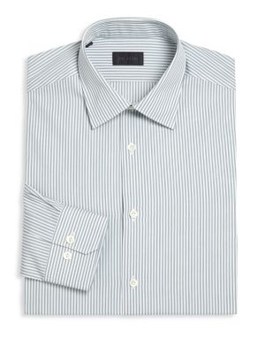 "Image of Classic cotton dress shirt in elegant dual stripes. Point collar. Front bottom closure. Long sleeves with buttoned cuffs. About 32"" from shoulder to hem. Cotton. Machine wash. Made in Italy."