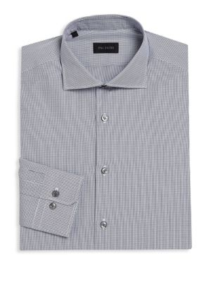 "Image of Striped wardrobe essential made from soft cotton. Spread collar. Front button closure. Long sleeves with button cuffs. About 32"" from shoulder to hem. Cotton. Machine wash. Made in Italy."