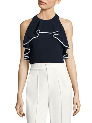 Wonda Ruffled Halter Cropped Top by Alice + Olivia