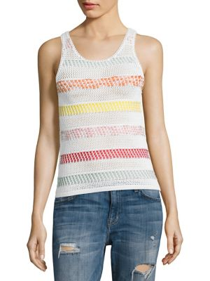 Trinity Textured Striped Shell by Alice + Olivia