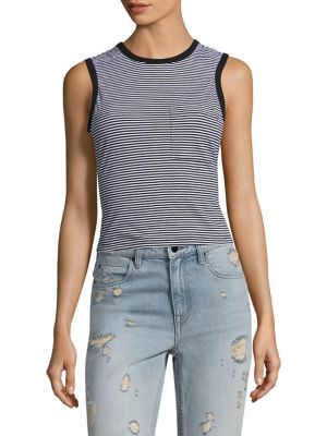 Striped Open-Back Cotton Tank Top by T by Alexander Wang