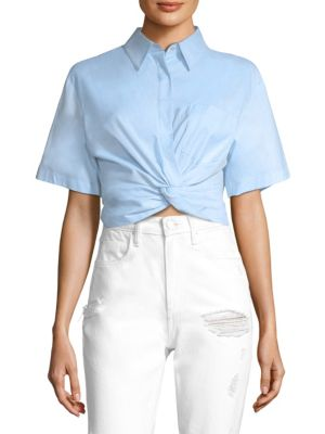 Cotton Twill Twisted Front Cropped Shirt by T by Alexander Wang