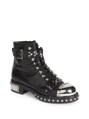 Stud-Embellished Leather Ankle Boots, Black