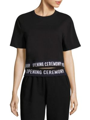 Cropped Cotton Logo Tee by Opening Ceremony
