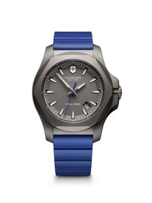 VICTORINOX SWISS ARMY Rubber Inox Sandblasted Titanium Professional Strap Watch in Grey