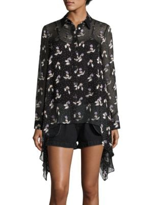 Gestures Burnout Silk-Blend Top by Opening Ceremony