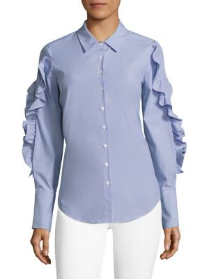 Striped Lace-Up Ruffled Poplin Shirt by Scripted