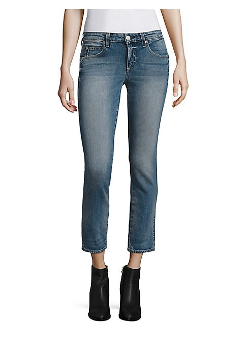 """Image of Staple straight-leg jeans in cropped length. Zip fly with button closure. Five-pocket style. Rise, about 8.5"""".Inseam, about 27"""".Leg opening, about 13"""".Cotton/elastane. Machine wash. Made in USA of Italian fabric. Model shown is 5'10"""" (177cm) wearing US si"""