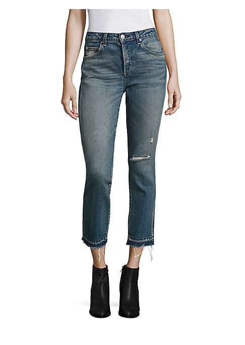 """Image of Distressed straight-leg jeans in high-rise cut. Belt loops. Button fly. Five-pocket style. Raw hem. Rise, about 10"""".Inseam, about 27"""".Leg opening, about 13"""".Cotton/elastane. Machine wash. Made in USA of Italian fabric. Model shown is 5'10"""" (177cm) wearing"""