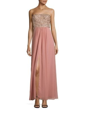 Beaded Strapless Gown by Aidan Mattox