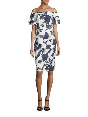 Milly Dakota Off-The-Shoulder Floral Jacquard Sheath Dress In Navy