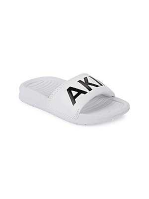 Image of From the Classic Collection Metallic finish upper lends an elegant touch Leather upper Open toe Slip-on style Rubber sole Imported. Children's Wear - Children's Shoes. Akid. Color: White. Size: 4-5 (Child).