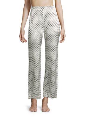 Printed Silk Satin Pajama Pants by Asceno
