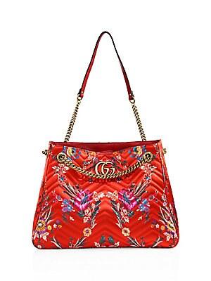 7d2b166242317c Gucci - Medium GG Marmont Matelassé Floral Jacquard Chain Shoulder Bag -  saks.com