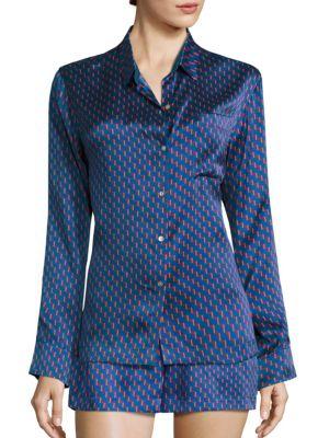 Printed Silk Pajama Shirt by Asceno