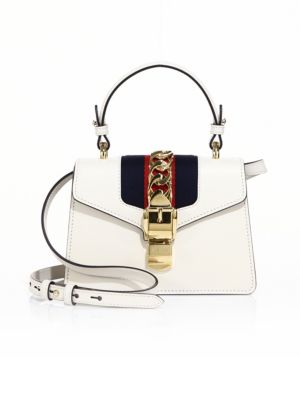 Sylvie Mini Chain-Embellished Leather Shoulder Bag in Off-White