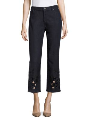 Kiana Embellished Cropped Jeans by Elie Tahari