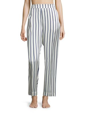 Striped Silk Satin Pajama Pants by Asceno