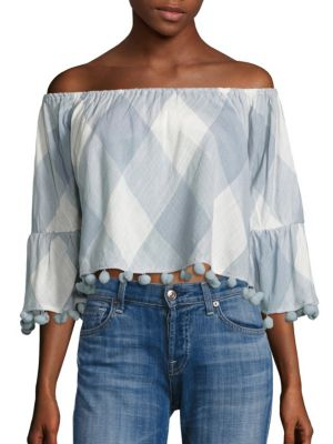Alexa Pom-Pom Off-The-Shoulder Cropped Top by Tularosa
