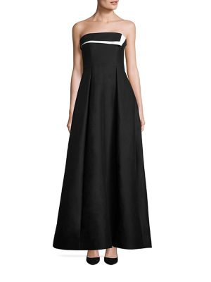 Image of Strapless Colorblock Faille Gown