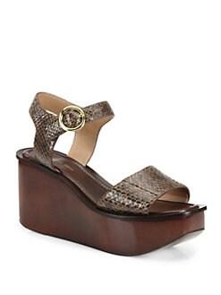 2f0b42bab0c9 Michael Kors Collection Bridgette Snakeskin Wedge Platform Sandals